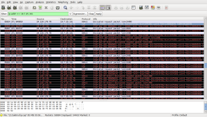 "Screen capture of wireshark output, showing part of a ""burst""."